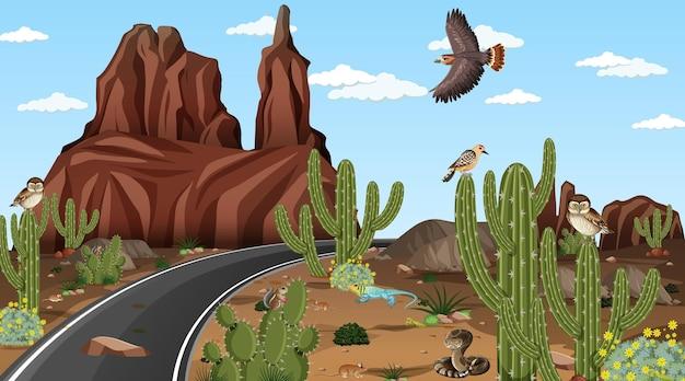 Estrada pela cena da paisagem da floresta do deserto com animais do deserto