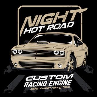 Estrada quente de noite, vetor de carro iluminado