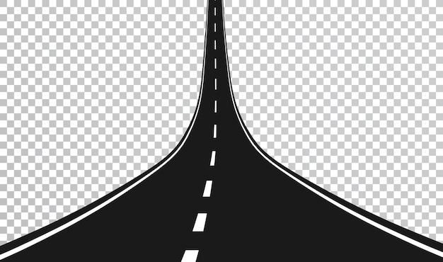 Estrada reta com marcações brancas.