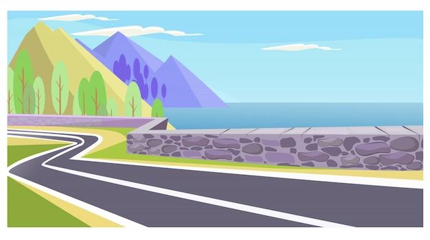 Estrada rural, em, mar, e, montanhas, ilustração