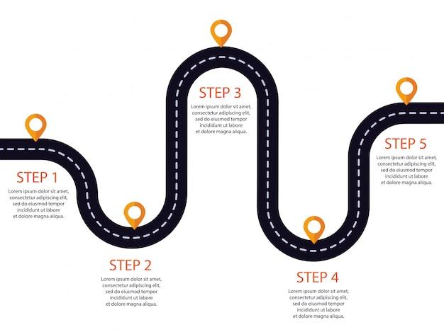 Estrada sinuosa com ponteiro de pin. infográfico modelo de etapas.