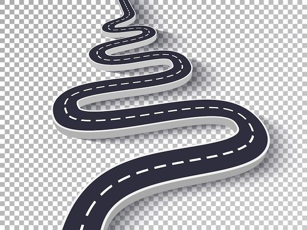 Estrada sinuosa isolada efeito especial transparente