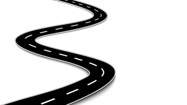 Estrada sinuosa isolada no fundo branco