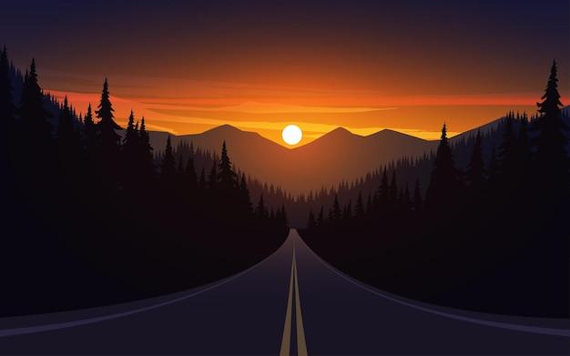 Estrada vazia ao pôr do sol com floresta