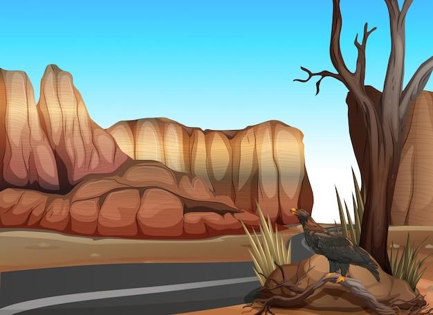 Estrada vazia no deserto ocidental