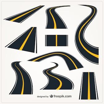 Estradas elementos gráficos vetoriais