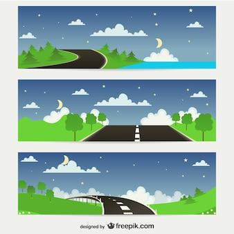 Estradas em banners natureza
