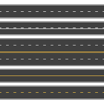 Estradas retas sem costura. rua de asfalto sem fim, estrada de vista superior. estrada horizontal vazia