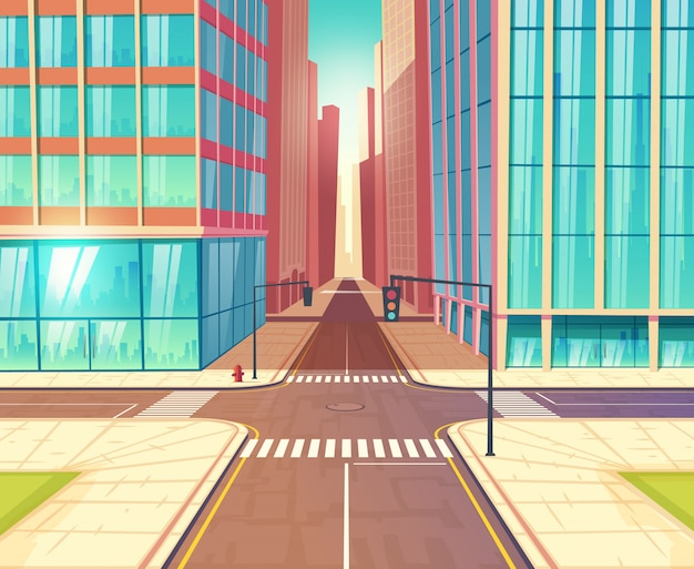 Estradas transversaas da metrópole, ruas que cruzam-se na cidade do centro com a estrada, os sinais e os passeios da dois-pista perto da ilustração do vetor dos desenhos animados das construções dos arranha-céus. infraestrutura de transporte urbano
