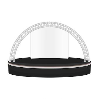 Estrado de estilo plano de cor preta redonda ilustração de treliça de metal de palco