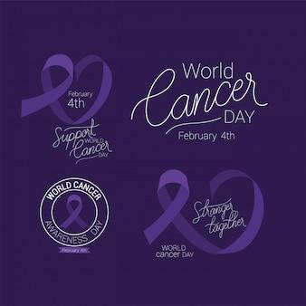 Estrangeiro de fita roxa junto e apoia o design de texto, dia mundial do câncer, quatro de fevereiro, campanha de conscientização sobre prevenção de doenças e tema da fundação