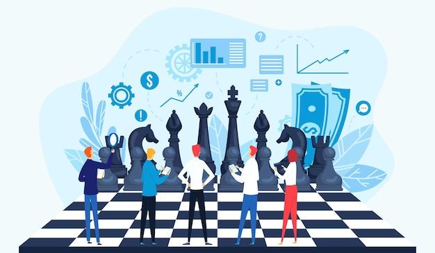 Estratégia, conceito de ilustração de gestão estratégica.