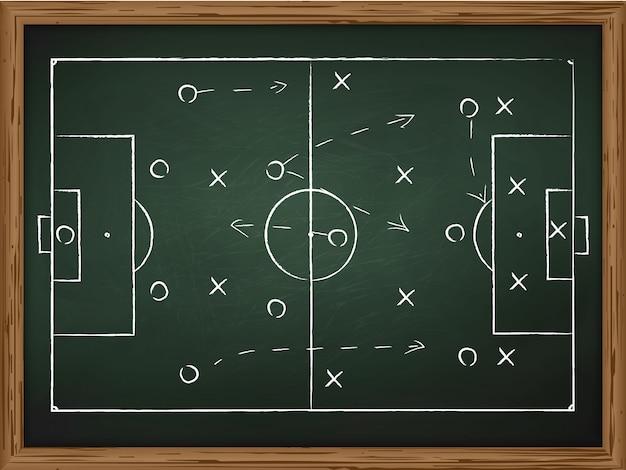Estratégia das táticas do jogo do futebol desenhada no quadro de giz. vista do topo
