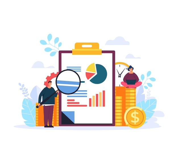 Estratégia de análise de negócios de finanças pesquisando ilustração de design gráfico plano