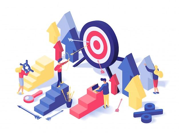Estratégia de atração do cliente isométrica