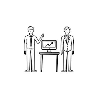 Estratégia de consultoria contorno desenhado mão doodle ícone de vetor. conceito de esboço de estratégia de negócios para impressão, web, mobile e infográficos isolados no fundo branco.