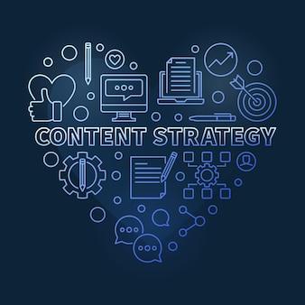 Estratégia de conteúdo conceito linear coração azul ilustração