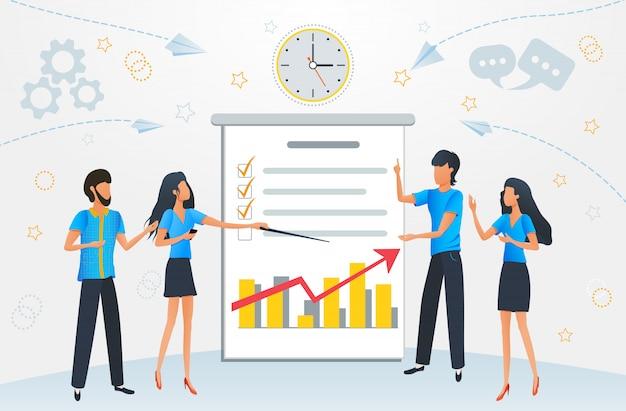 Estratégia de crescimento do lucro comercial, reunião de pessoas de negócios dos desenhos animados
