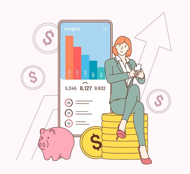 Estratégia de finanças, trabalho, aplicativo de análise de negócios.