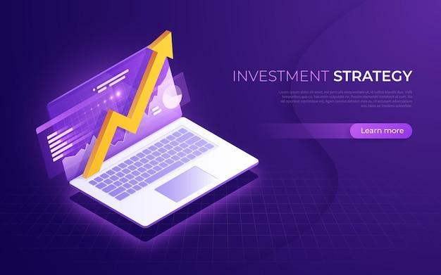 Estratégia de investimento, análise de negócios, conceito isométrico de desempenho financeiro.