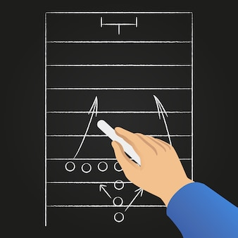 Estratégia de jogo de futebol desenhado à mão.