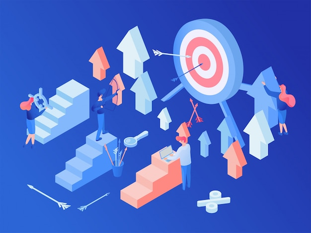 Estratégia de marketing de mídia social isométrica