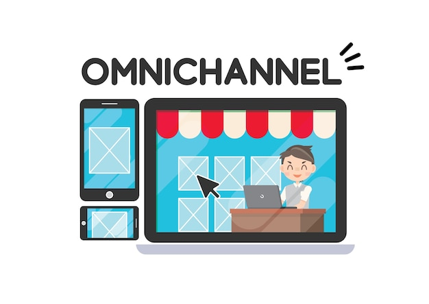Estratégia de marketing omni canal de compras on-line