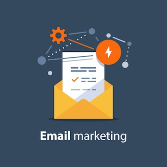 Estratégia de marketing por e-mail, conceito de boletim informativo