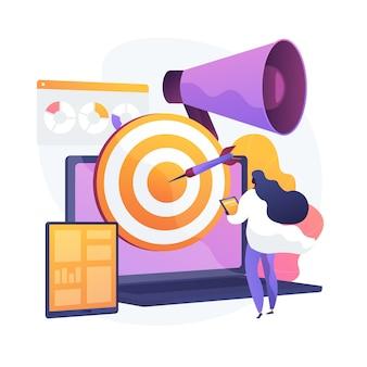 Estratégia de marketing precisa. criação e distribuição de conteúdo, identificação do público-alvo, promoção da marca. o especialista em smm analisa as estatísticas de comportamento do usuário. ilustração vetorial de metáfora de conceito isolado