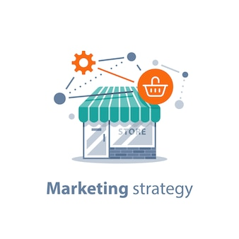 Estratégia de marketing, tecnologia de compras online, desenvolvimento de varejo, fachada de loja