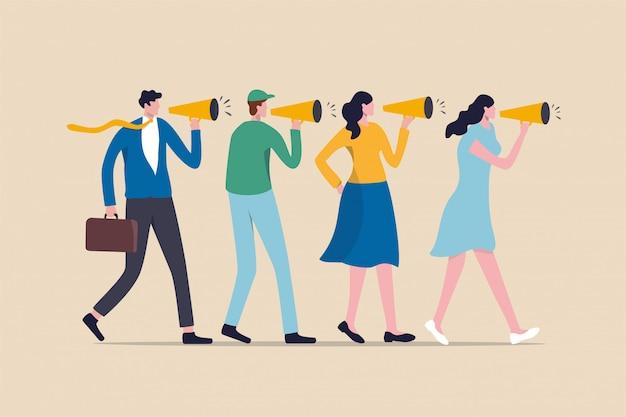 Estratégia de marketing, vebally contar história ou conceito de comunicação, pessoas usando o megafone para contar a história aos seus amigos.