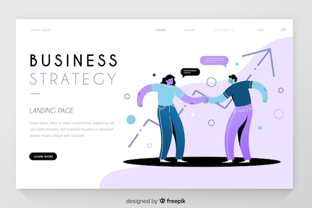 Estratégia de negócios com a página de destino das estatísticas