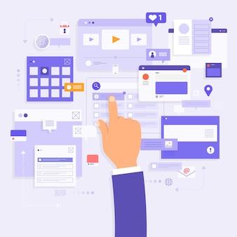 Estratégia de negócios de conceito de design plano