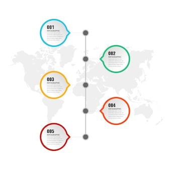 Estratégia de negócios de elemento infográfico de cinco pontos com número