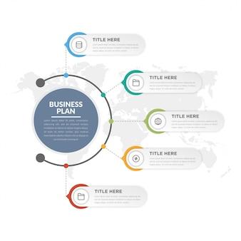 Estratégia de negócios de elemento infográfico de cinco pontos