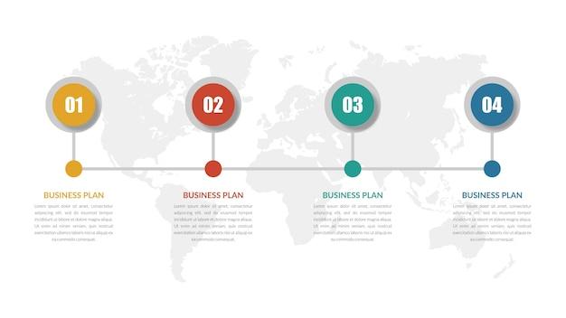 Estratégia de negócios de elemento infográfico de quatro etapas com número