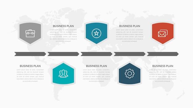 Estratégia de negócios de infográfico de cinco pontos com ícones