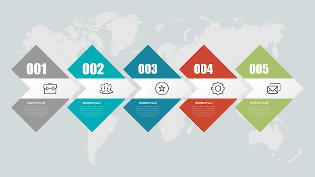 Estratégia de negócios de infográfico de cinco pontos
