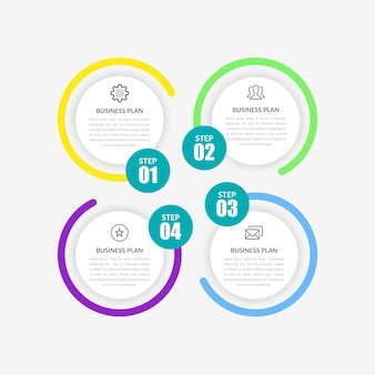 Estratégia de negócios de infográfico de quatro etapas com ícones