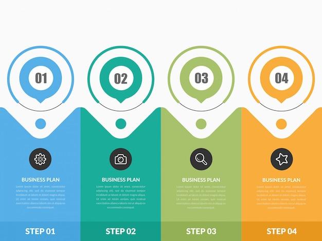 Estratégia de negócios de infográfico de quatro pontos