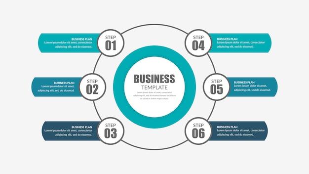 Estratégia de negócios de infográfico de seis pontos com ícones