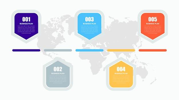 Estratégia de negócios do elemento infográfico de cinco pontos