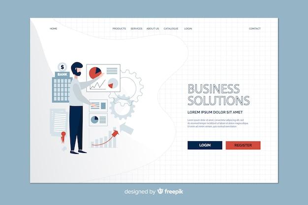 Estratégia de negócios e página de destino do homem