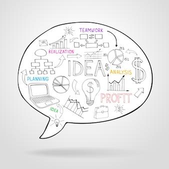 Estratégia de negócios e planejamento em um balão de fala com ícones representando fluxogramas, análise de ideias de lâmpada, trabalho em equipe e ilustração vetorial de lucro