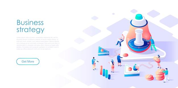 Estratégia de negócios isométrica da página de destino ou conceito plano de marketing