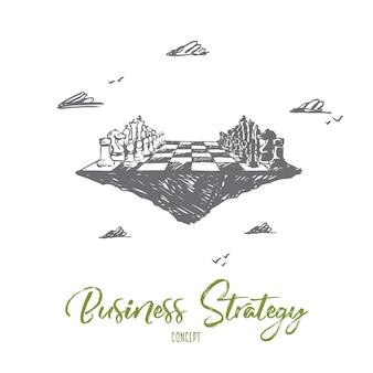 Estratégia de negócios, xadrez, táticas, competição, conceito de confronto. mão desenhada tabuleiro de xadrez como símbolo do esboço do conceito de negócio real.