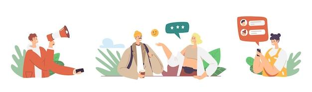 Estratégia de programa de referência de personagens, marketing de rede, conceito de parceria de afiliados. pessoas conversando como amigos de referência, cooperação de parceiros de negócios, mídia social. ilustração em vetor de desenho animado