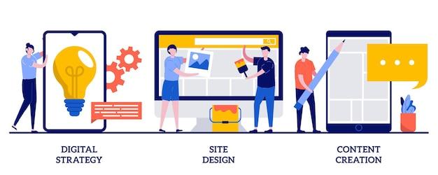 Estratégia digital, design de site, ilustração de criação de conteúdo com pessoas minúsculas