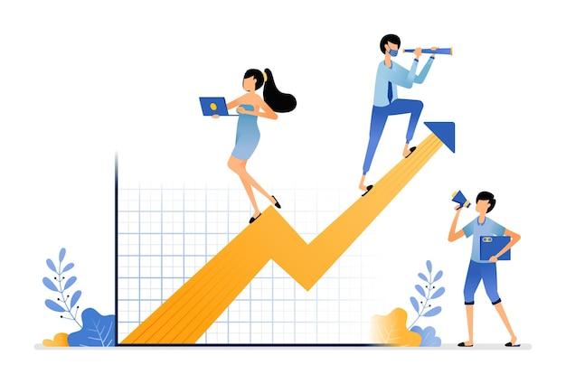 Estratégia e planejamento para melhorar o desempenho dos funcionários para atingir o mercado-alvo e participação