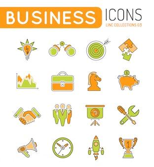 Estratégia empresarial linhas finas cor web icon set